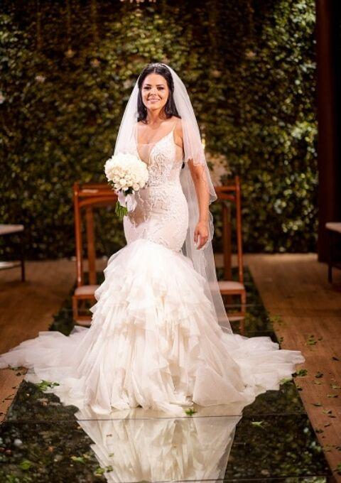 Second Hand Brautkleid   Einzelanfertigung   Meerjungfrau   Gr. 38