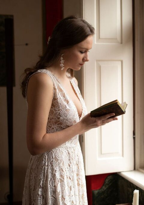 Brautkleid   LeJame   VERONIQUE   Boho   Standesamt   Vokuhila   Maßgeschneidert