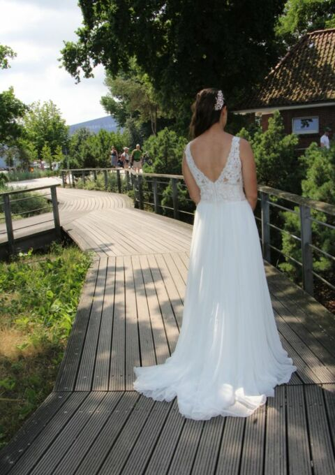 Second Hand Brautkleid | Modeca | A-Linie | Gr. 38 | Maßgeschneidert