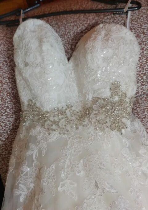 Second Hand Brautkleid | Morilee / Madeline Gardner | Mori Lee OFYZ IV8 | A-Linie | Gr. 34 | Maßgeschneidert